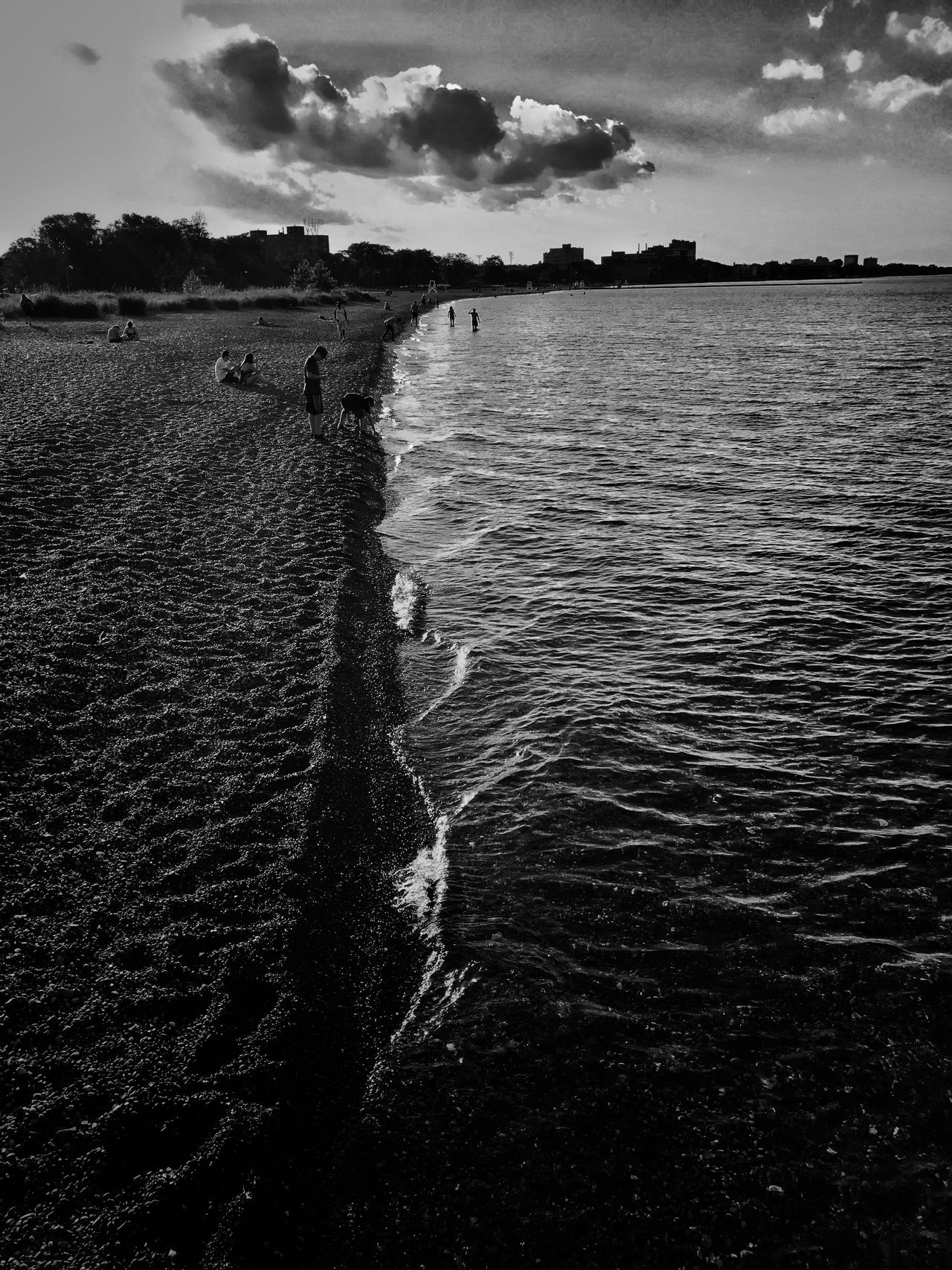 Evening stroll Beach Chicago Lake Michigan