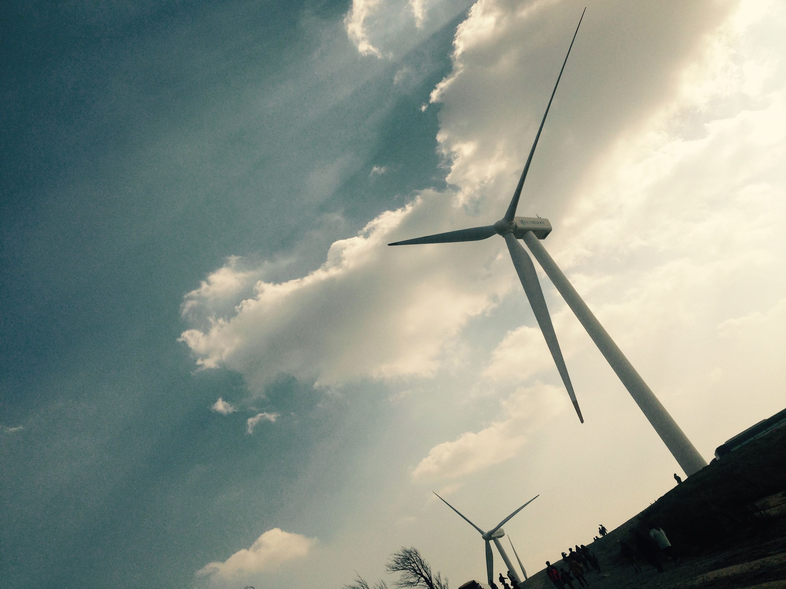low angle view, fuel and power generation, sky, technology, wind power, alternative energy, wind turbine, windmill, cloud - sky, environmental conservation, renewable energy, electricity, electricity pylon, cloud, cloudy, power supply, power line, connection, traditional windmill, silhouette