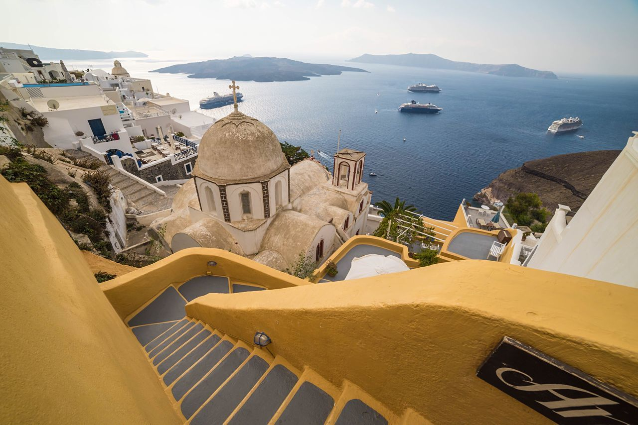 Step Down Architecture Building Exterior Travel Destinations Built Structure Sea House No People Bell Tower - Tower Place Of Worship City Outdoors Sky Day Santorini Fira Greece Greek Islands Greek Summer Harbour Landscape Scenics Travel Photography Waterscape Sea And Sky The City Light