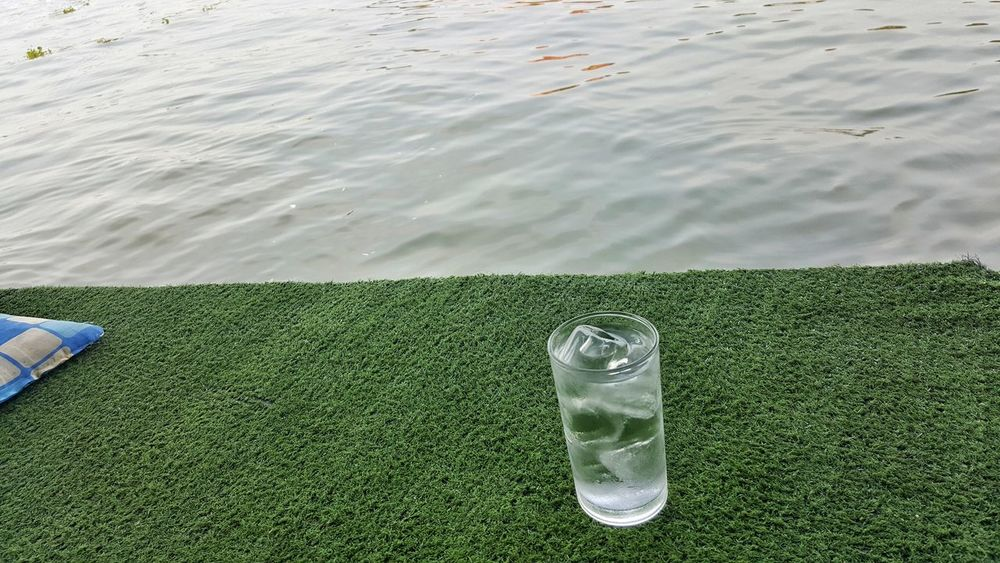 Day No People Drink Water High Angle View Food And Drink Green Color Grass Refreshment Outdoors Drinking Water Freshness