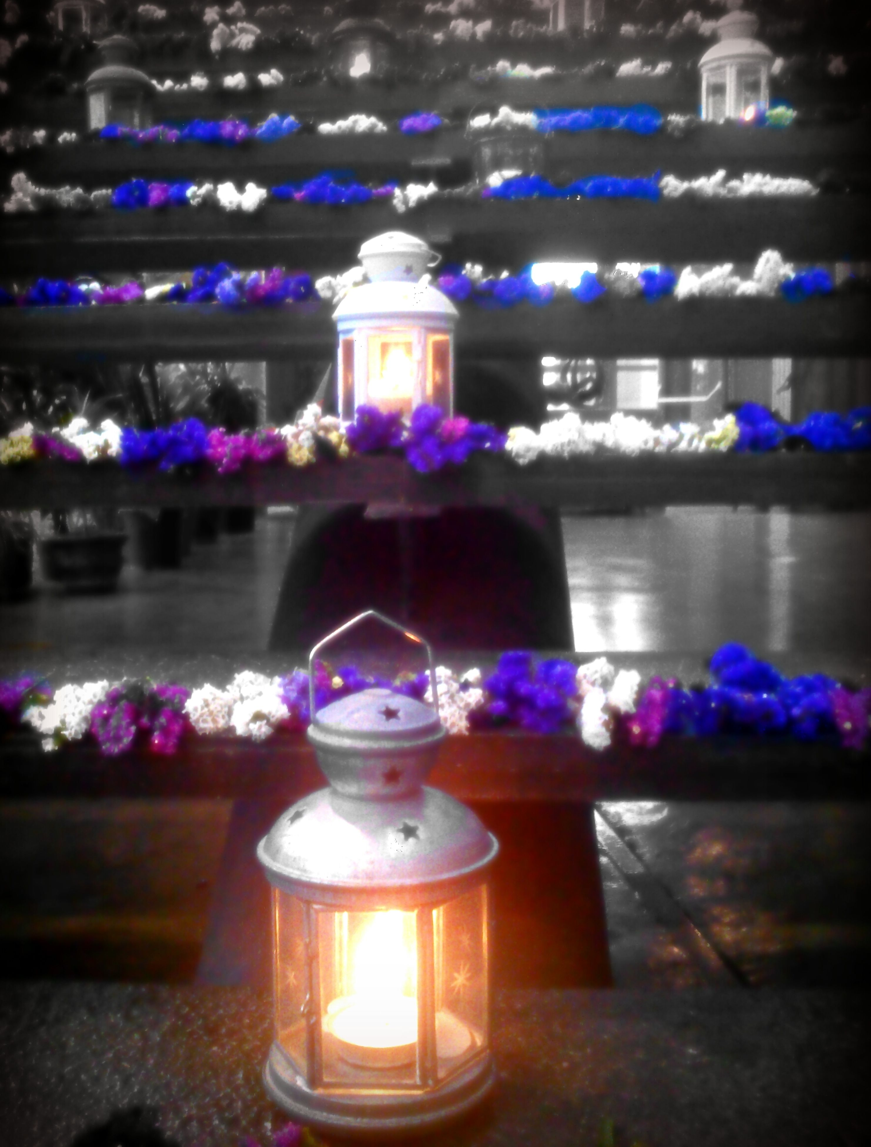 illuminated, lighting equipment, flower, candle, glowing, decoration, indoors, night, religion, lit, focus on foreground, flame, close-up, celebration, light - natural phenomenon, spirituality, place of worship, glass - material, burning