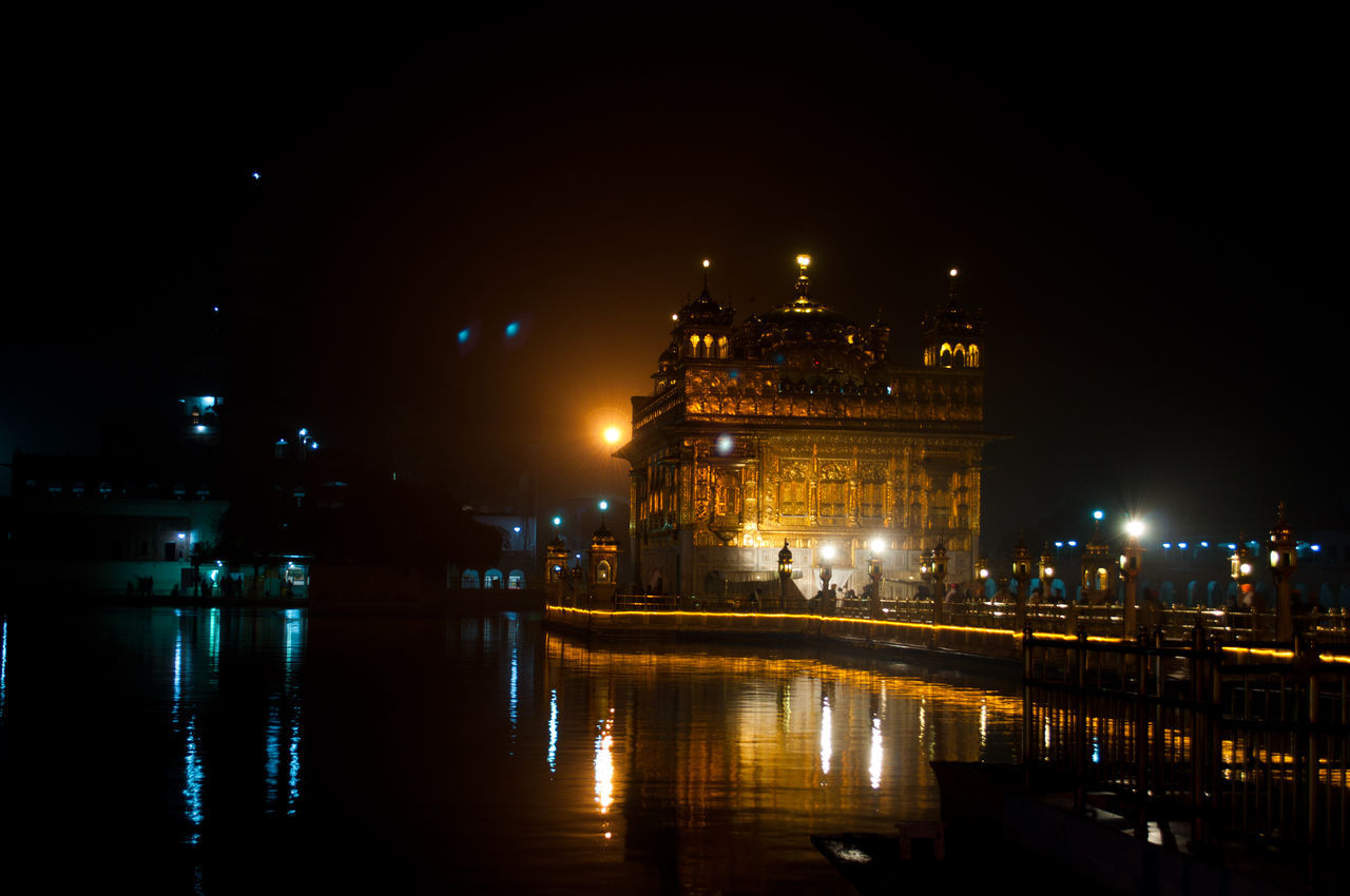 Golden Temple Amritsar Architecture Building Exterior Built Structure City Golden Temple Illuminated India Indian Night No People Outdoors Reflection Sky Travel Destinations Water The Architect - 2017 EyeEm Awards