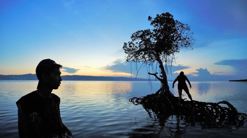 friends by the mangrove Beauty In Nature Outdoor Photography Reflection Reflections In The Water Sea And Sky Seascape Photography Silhouette Silhoutte Photography Sunset Sunset Silhouettes