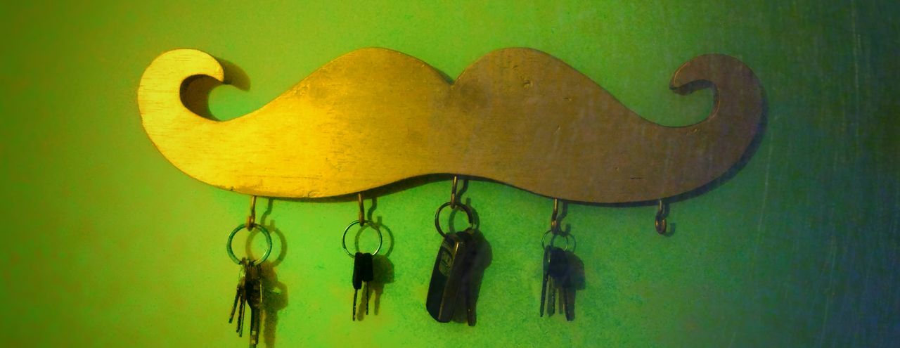 Moustache for life. Green Color Heart Shape No People Yellow Day Philosophy Live Life Indoors  Close-up Moustache Keys Keys Photography Key To Life  Anamorphic EyeEmNewHere