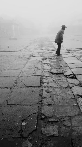 Foggy Weather Mobilephotography Borneo Sabah Blackandwhite Photography Wet Day Man Walking Alone Full Length One Person Outdoors Day People Adult AI Now