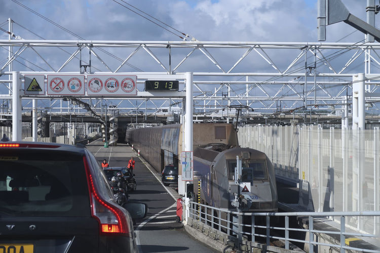Embarking of cars in the Channel Tunnel of Eurotunnel Le Shuttle from Coquelles nearby Calais in France to Folkestone in England Calais  Channel Tunnel Cloud - Sky Day Embarking Folkestone Land Vehicle Mode Of Transport Outdoors Shuttle Train Train - Vehicle Transportation Tunnel