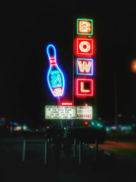One of few remaining signs left in Orange County from the Googie era of midcentury coffee shop design. Bowling Neon Lights Midcenturymodern