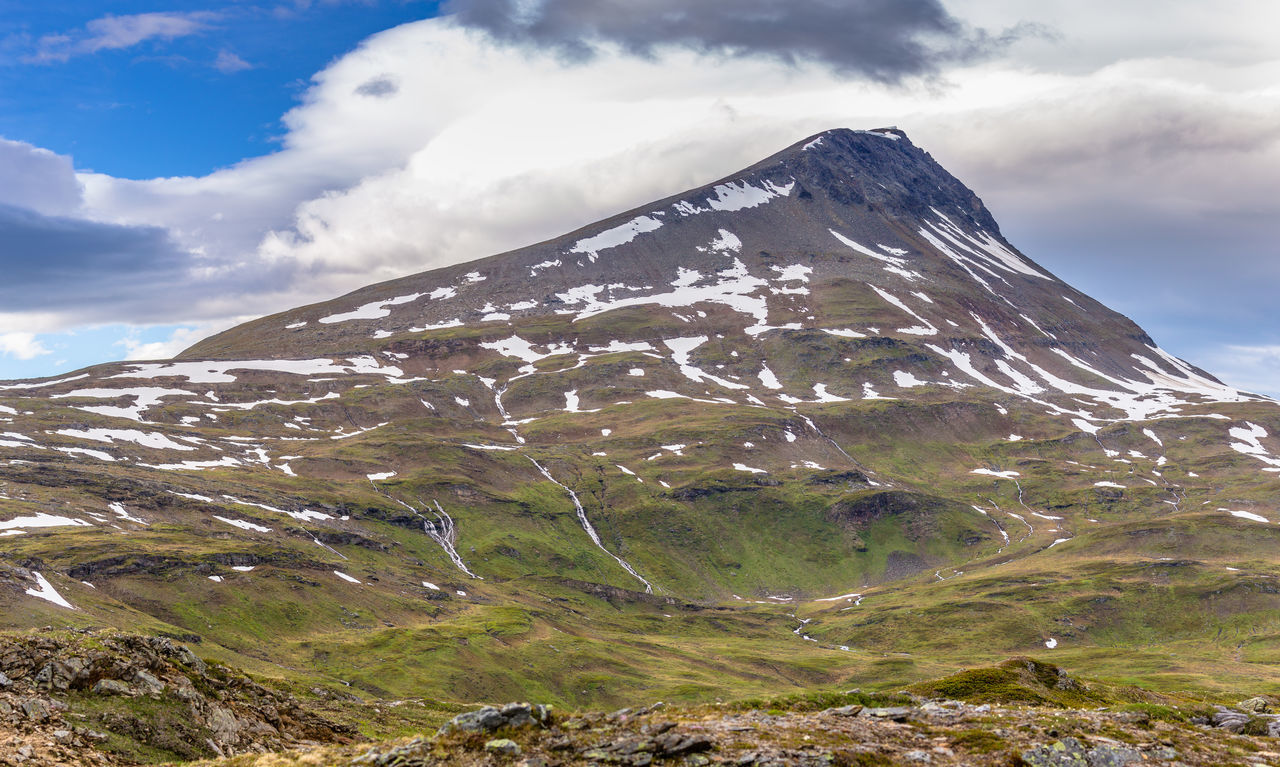Arctic Beauty In Nature Cloud Cloud - Sky Day Grass Hiking Landscape Landscape_Collection Mountain Mountain Range Nature No People Northern Norway Norway Outdoors Panoramic River Rocks Scenics Tromsdalstinden Waterfall Weather