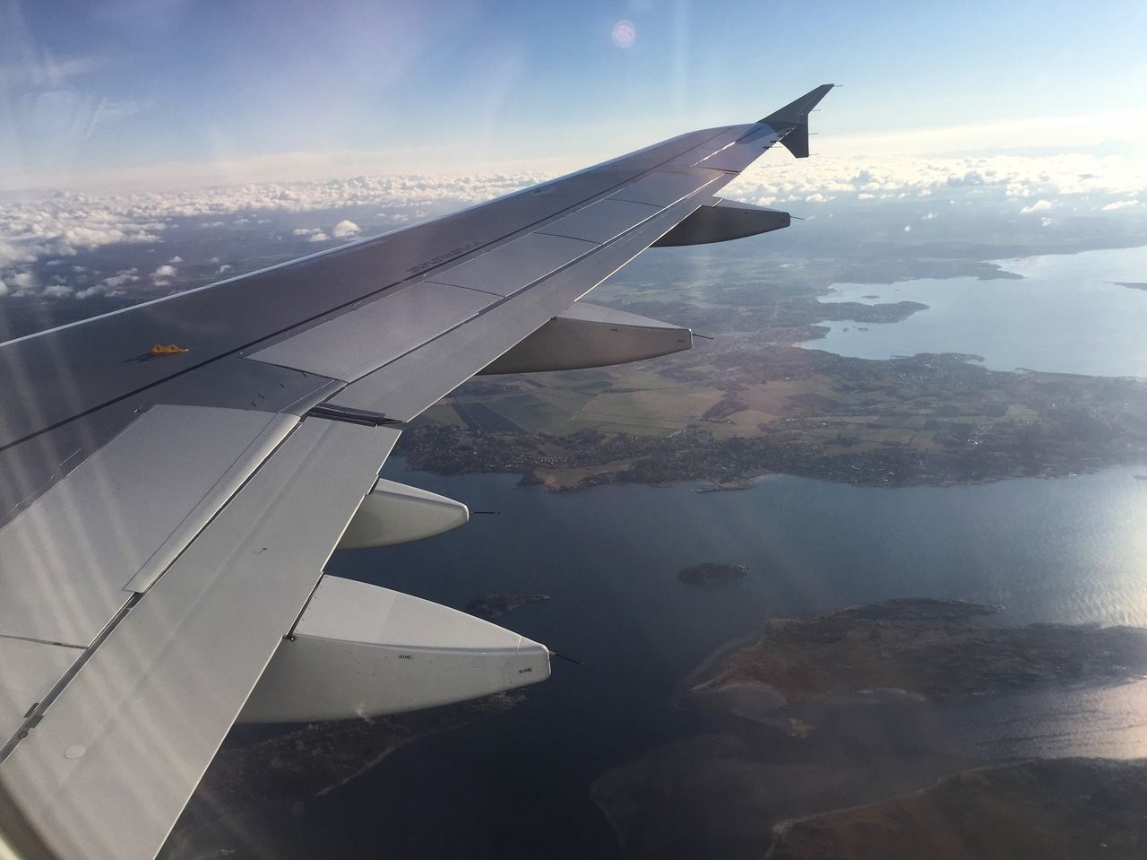 Airplane Flying Aerial View Transportation Aircraft Wing Journey Mode Of Transport Travel Landscape Sky Scenics Nature Island Lake Water Beautiful Colors High Angle View Colour Of Life Beauty In Nature Nature Photography Winter Sweden My Year My View