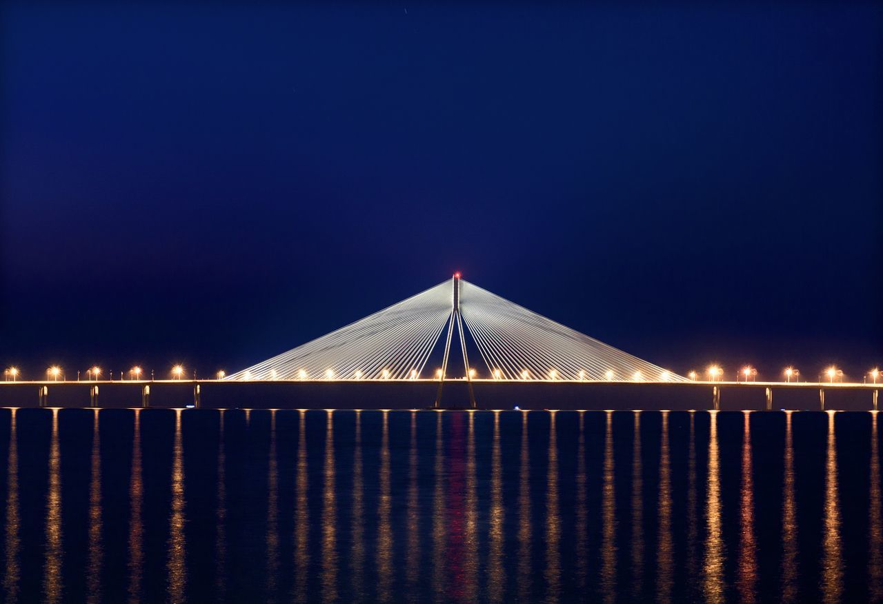 Beautiful stock photos of nacht, Architecture, Bandra–Worli Sea Link, Blue, Bridge - Man Made Structure