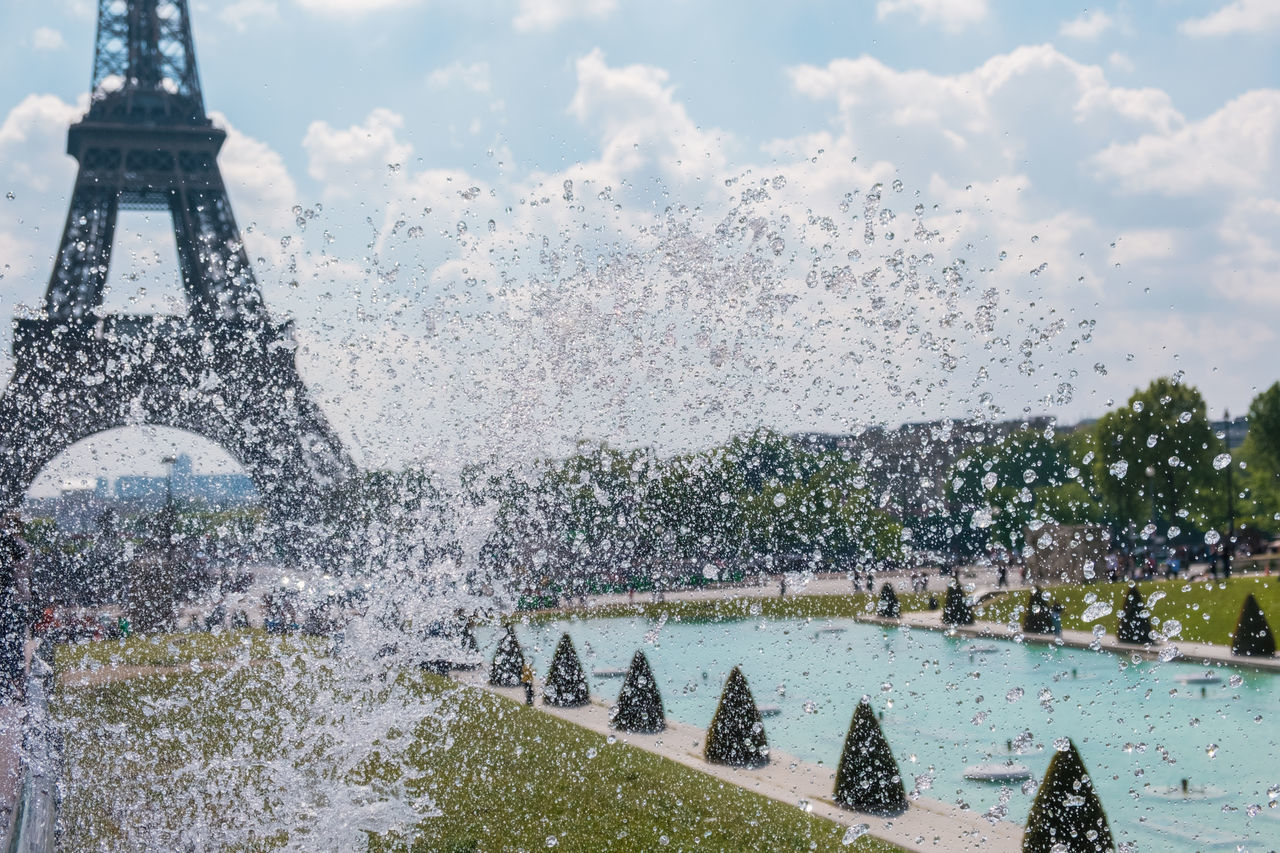 Architecture Building Exterior Built Structure City Copy Space Day Eiffel Tower Famous Place Formal Garden Fountain Jardins Du Trocadero Motion Nature No People Outdoors Pool Refreshment Sky Splashing Spraying Sunshine Tourism Travel Travel Destinations Water