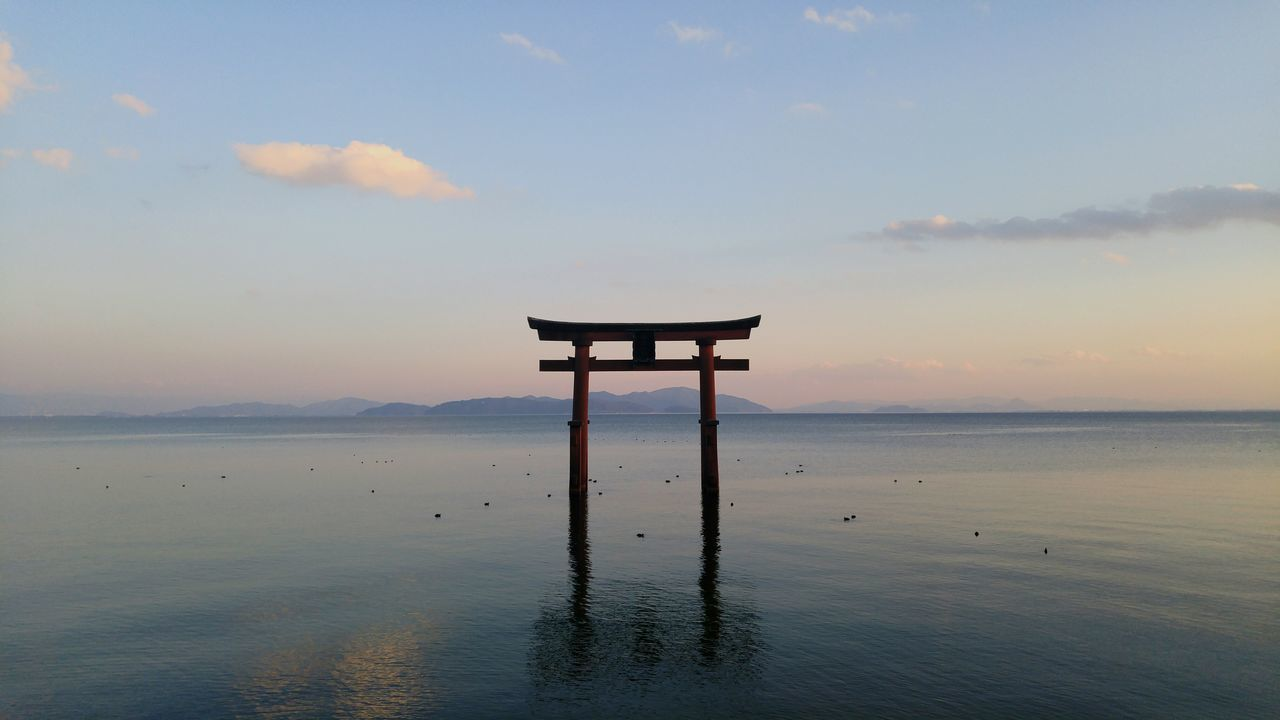 Beautiful, serenity and peace by the water. Lake Biwa Biwako TORII Gate Toriigate North Kyoto Japan Travel Photography Unknown Coast Nofilter