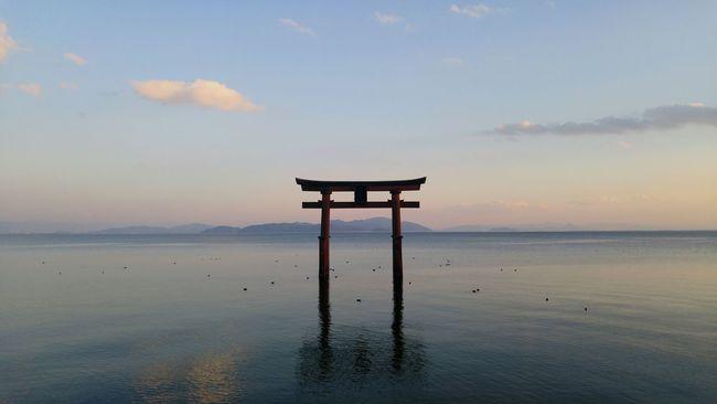Beautiful, serenity and peace by the water. Lake Biwa Biwako TORII Gate Toriigate North Kyoto Japan Travel Photography Unknown Coast Nofilter