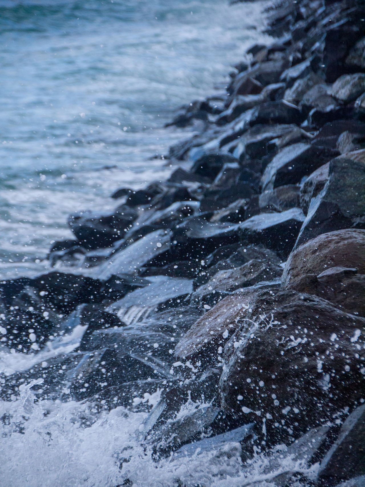 Beauty In Nature Close-up Day Nature No People Outdoors Rock - Object Rocky Rocky Beach Sea Splash Water Wave