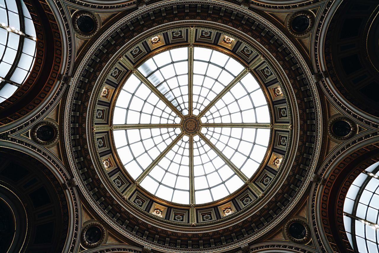 dome, indoors, architecture, built structure, ceiling, low angle view, architectural feature, cupola, skylight, no people, travel destinations, architectural design, day
