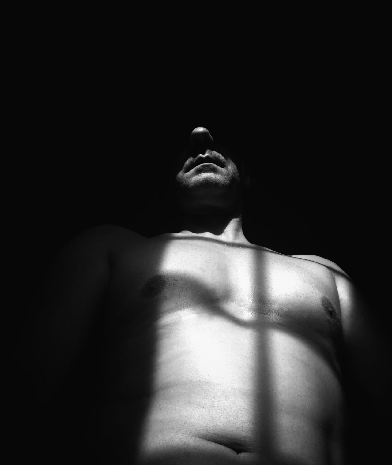 Autoportrait Black Background Human Body Part Indoors  One Person People Real People Shirtless Young Adult Light And Shadow Entre Ombre Et Lumiere