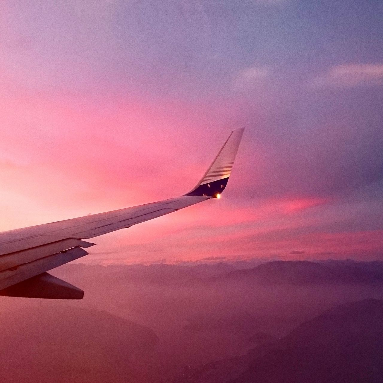 Sunset Airplane Transportation Travel Sky Nature Flying Beauty In Nature Pink Sky Cloud - Sky Summer Time  From Above  Colors Of Nature Nature