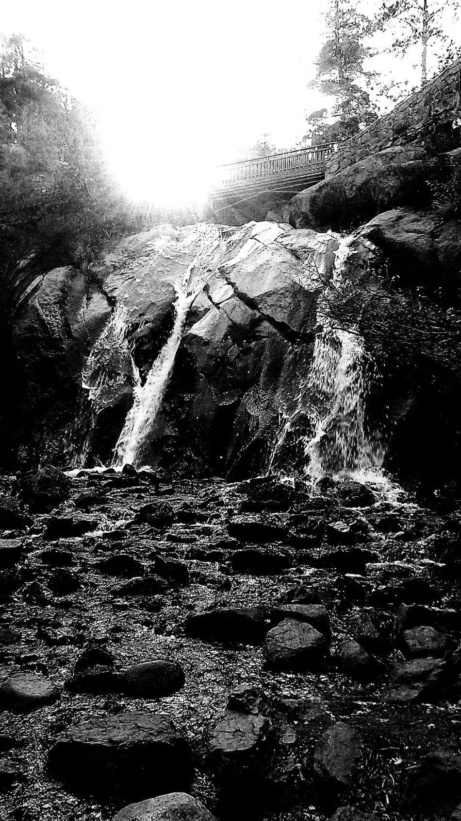 Ansel Adams Inspired Black And White Greyscale Waterfall Helen Hunt Falls Retro Vintage Ansel Adams Tribute