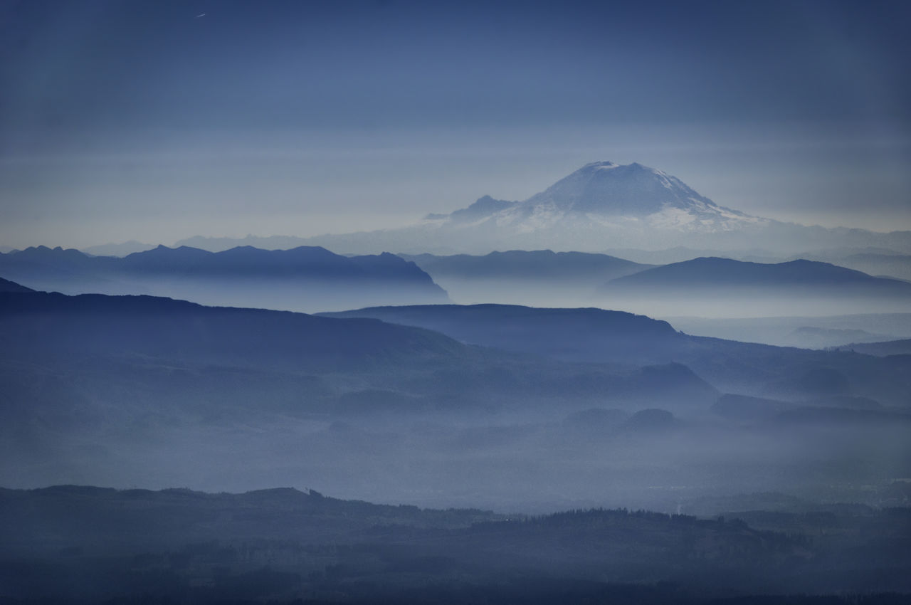 Blue Fog Landscape Mountain Mt. Baker Nature Tranquil Scene