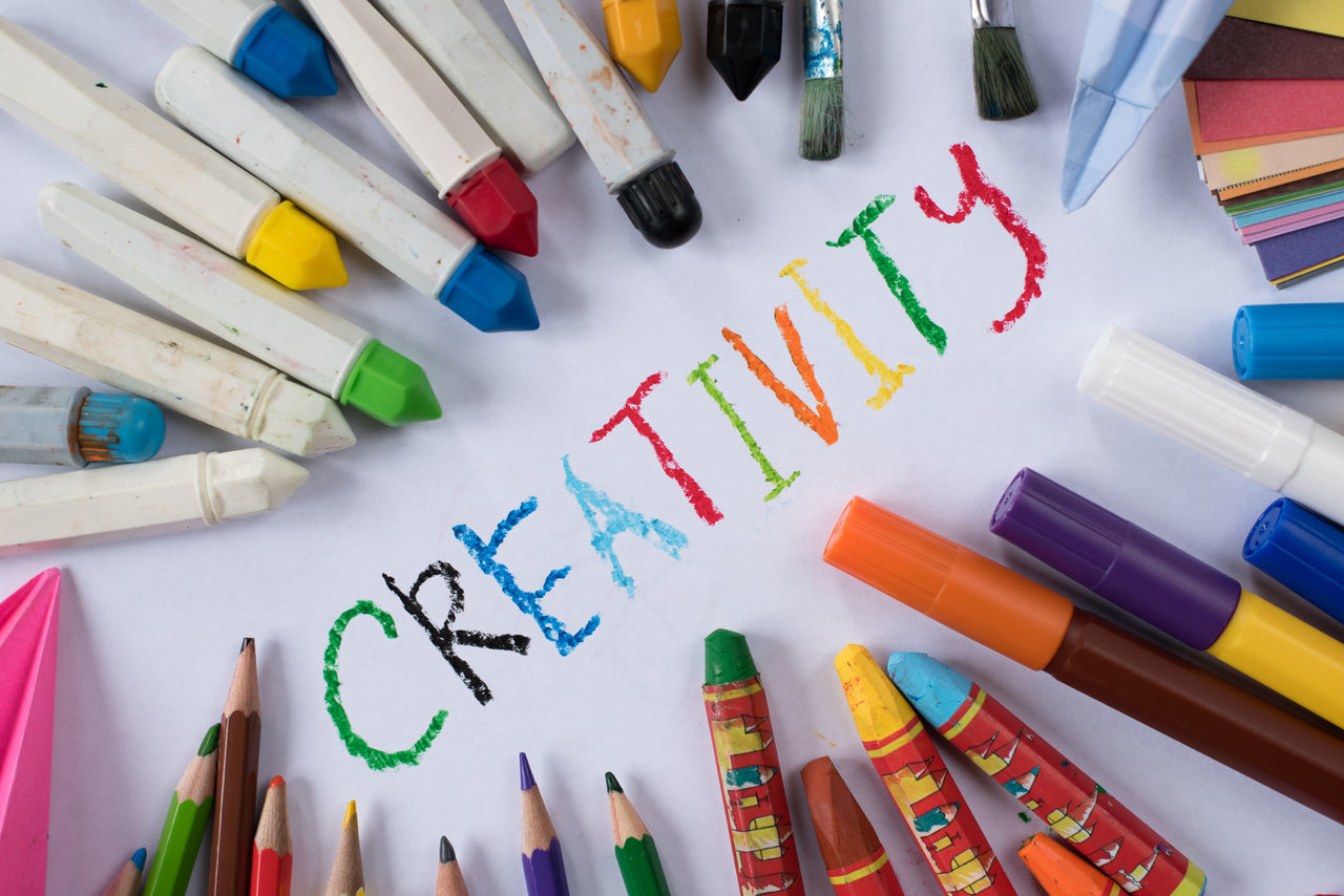 tools of creativity Imagination Water Colour Art Background Choice Colored Pencil Concept Crayon Creativity Day Education Indoors  Inspiration Large Group Of Objects Learning Marker Pen Multi Colored Origami Paper Papers Pencil School Table Variation Vision