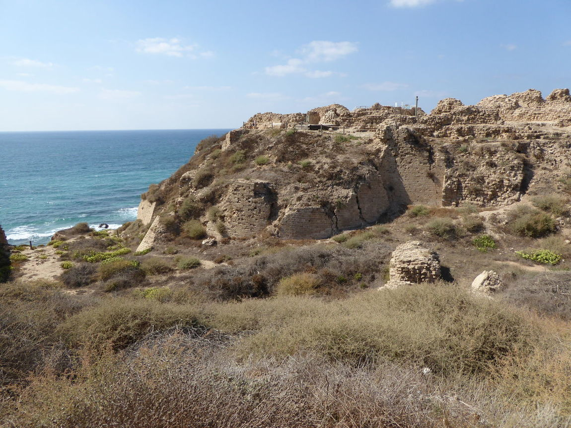 (3) Crusader Fortress Tel Arshaf Ballista stones. Archaelogical Excavations Archaeology Antiquities Ruins Moat
