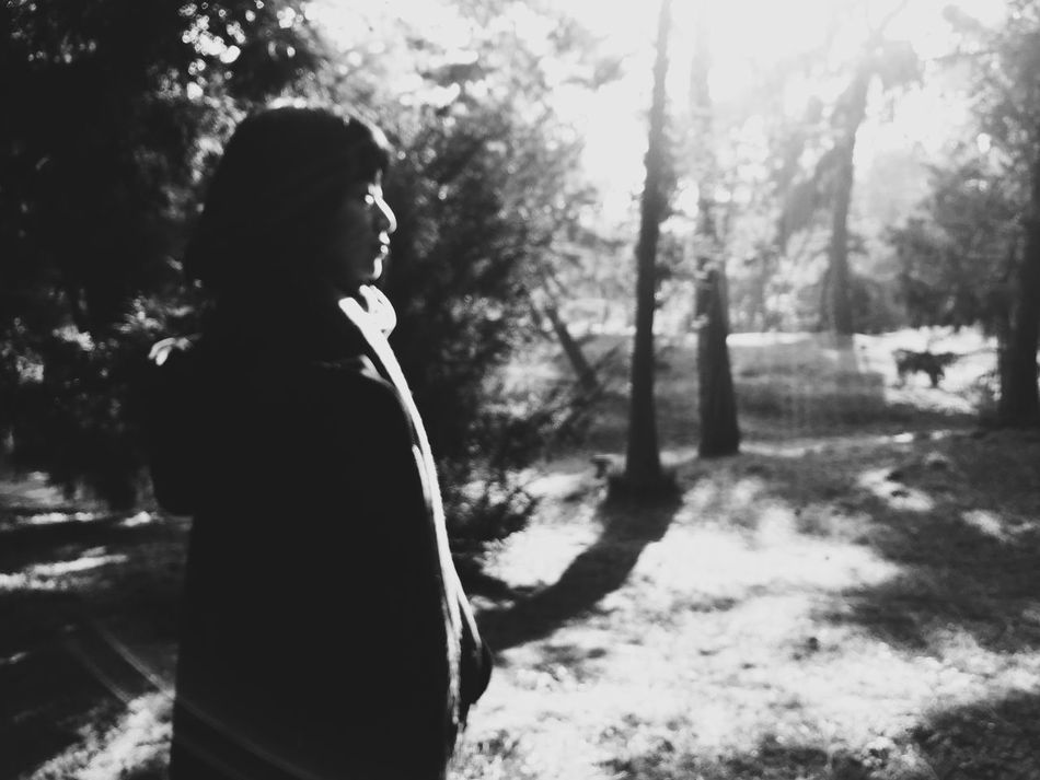 Blackandwhite Monochrome Soft Focus One Person Light And Shadow Outdoors Forest Day Dreaming Black & White