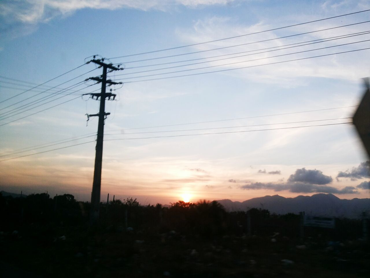 cable, connection, electricity, power supply, power line, sunset, electricity pylon, sky, silhouette, technology, cloud - sky, fuel and power generation, no people, low angle view, nature, outdoors, scenics, landscape, beauty in nature, tree, day