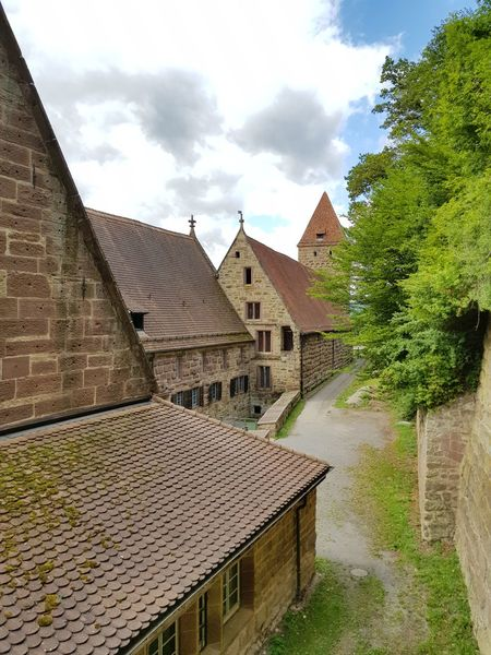 Roofs Sky And Clouds Built Structure Cloudscape Tourism Architecture Old House Kloster Maulbronn On Tour House Scenics Art Is Everywhere Cloud - Sky Personal Perspective Card Design Things Around Me Beauty In Nature Outdoors Tourist Spot Details Of My Life On Tour With My Handy Art Photography Sky Sunny Day Maulbronn