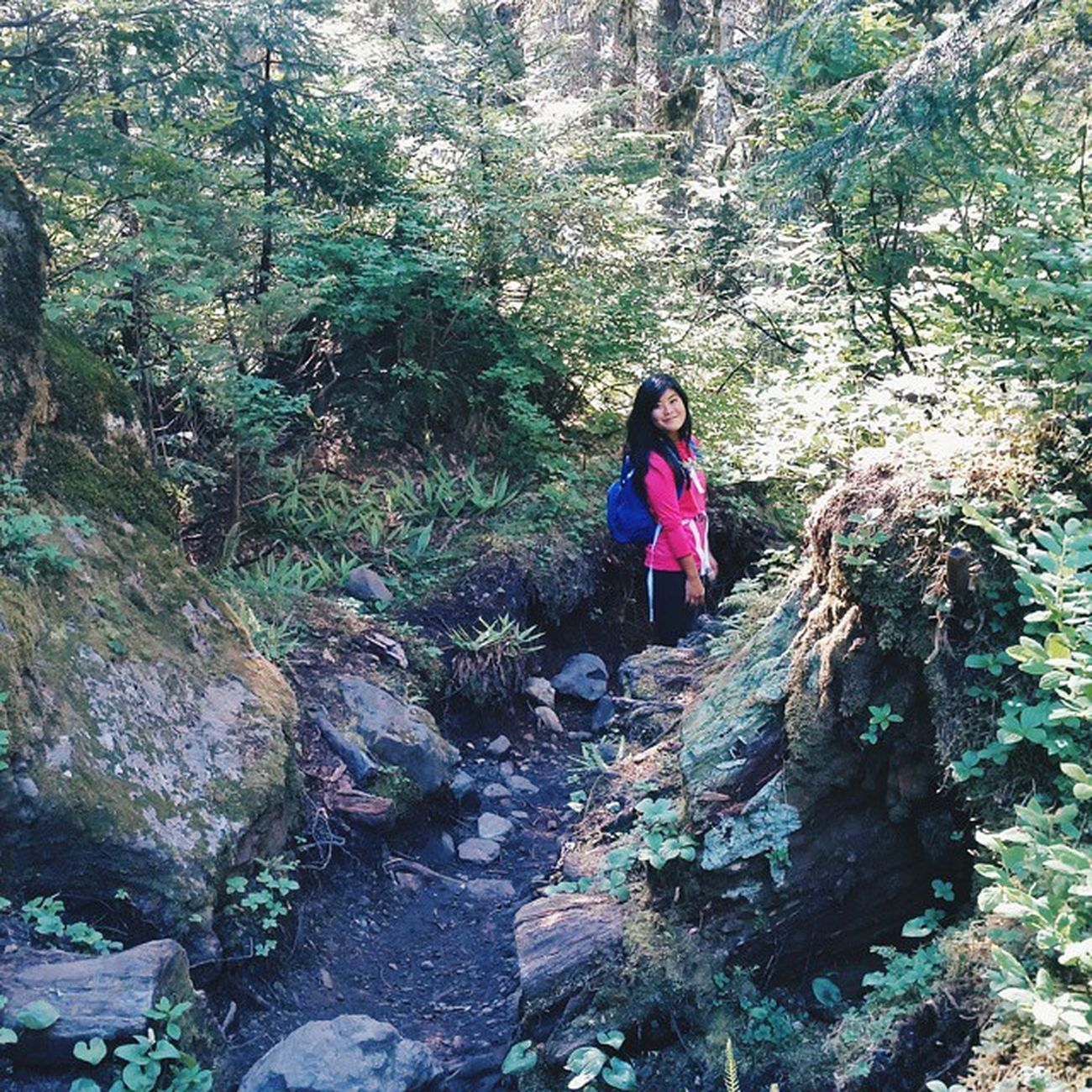 my neon hiking buddy || Vscocam Hikingpnw Hiking Heatherlake naturelovers