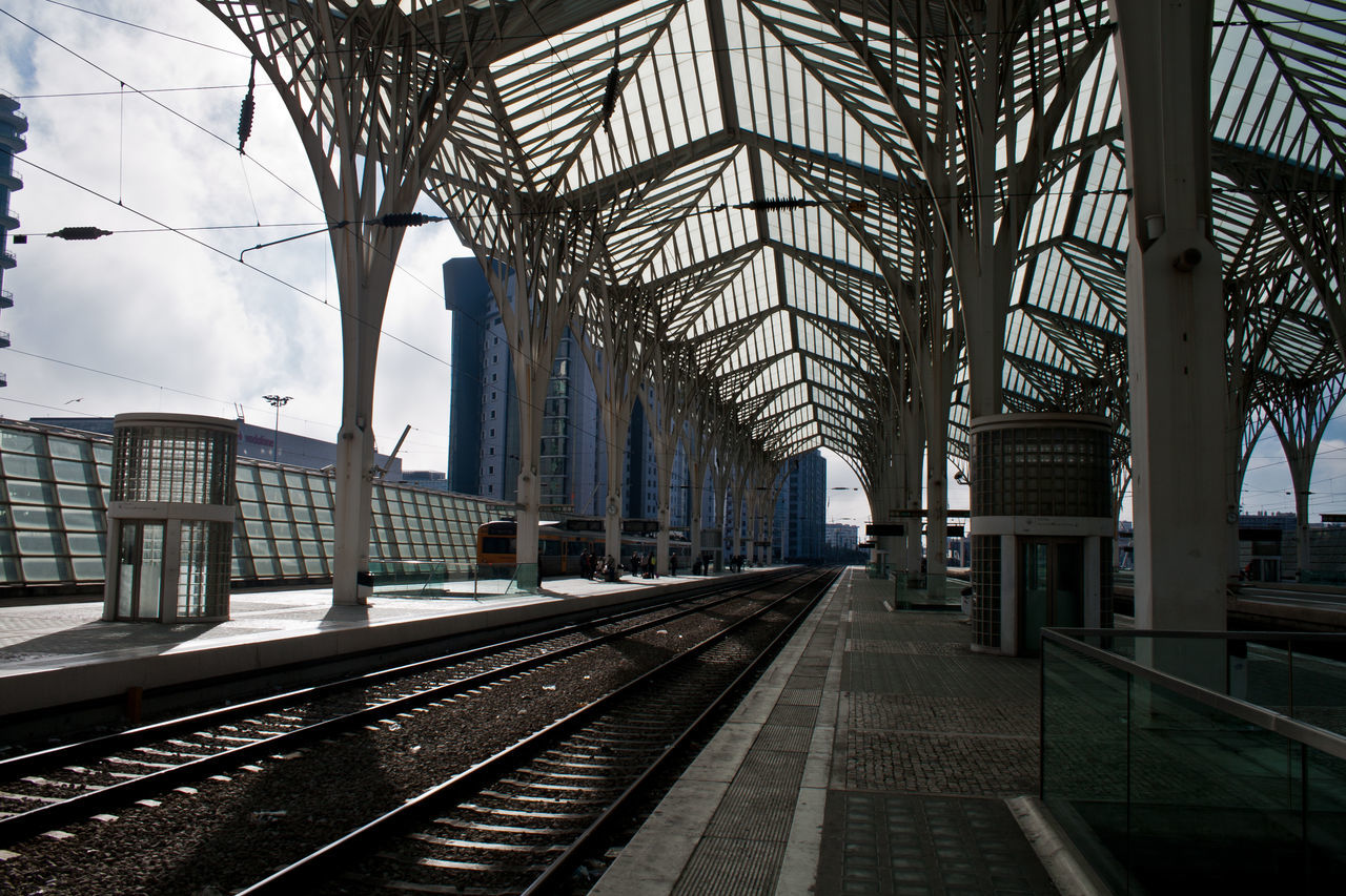 rail transportation, railroad track, transportation, built structure, railroad station, architecture, railroad station platform, public transportation, day, the way forward, no people, outdoors, sky