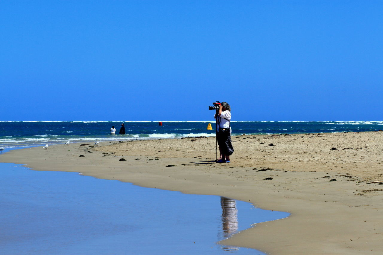 Australian Beaches Lady Taking Photography S Sand Surf Two People Miles Away
