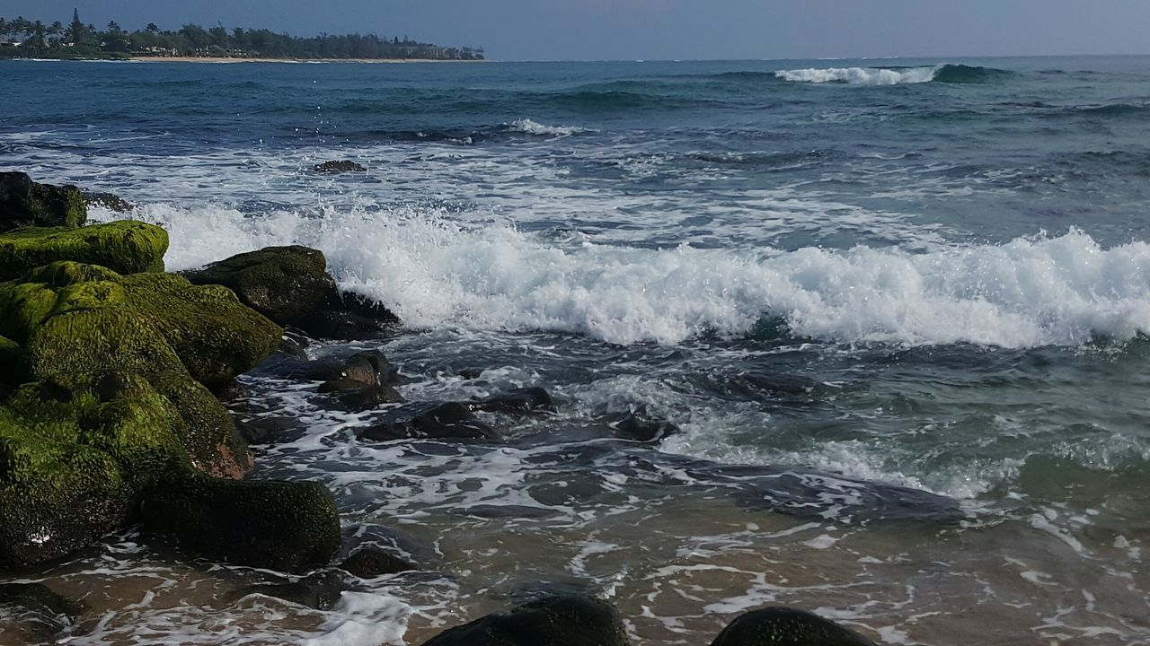 Sea Water Wave Horizon Over Water Outdoors Motion Nature Beauty In Nature Beach Life Beach Photogrqphy Kauai Life Power In Nature Wave Rocks In Water No People Oceanview