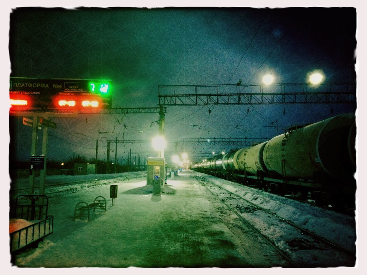 Illuminated Transportation No People Outdoors Railroad Station Railroad Station Platform Railroad Track Hipstamatic Winter Tadaa Community