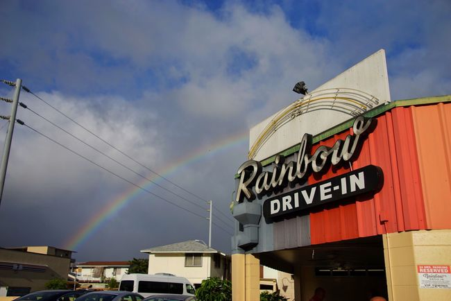 Built Structure Architecture Text Western Script Building Exterior Low Angle View Rainbow Sky City EyeEm Best Shots Rainbows Rainbow Drive In Hawaii EyeEm Nature Lover Cloud - Sky Nature Rainbow Sky Day Blue Multi Colored Outdoors City Life High Section No People Power Line