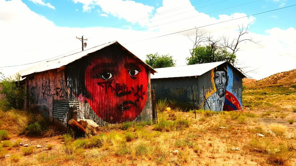 Red Skin Kid & Navajo Code Talker Graffiti Art Cow Springs Arizona Navajo Nation Code Talker Redskin Graffiti Art