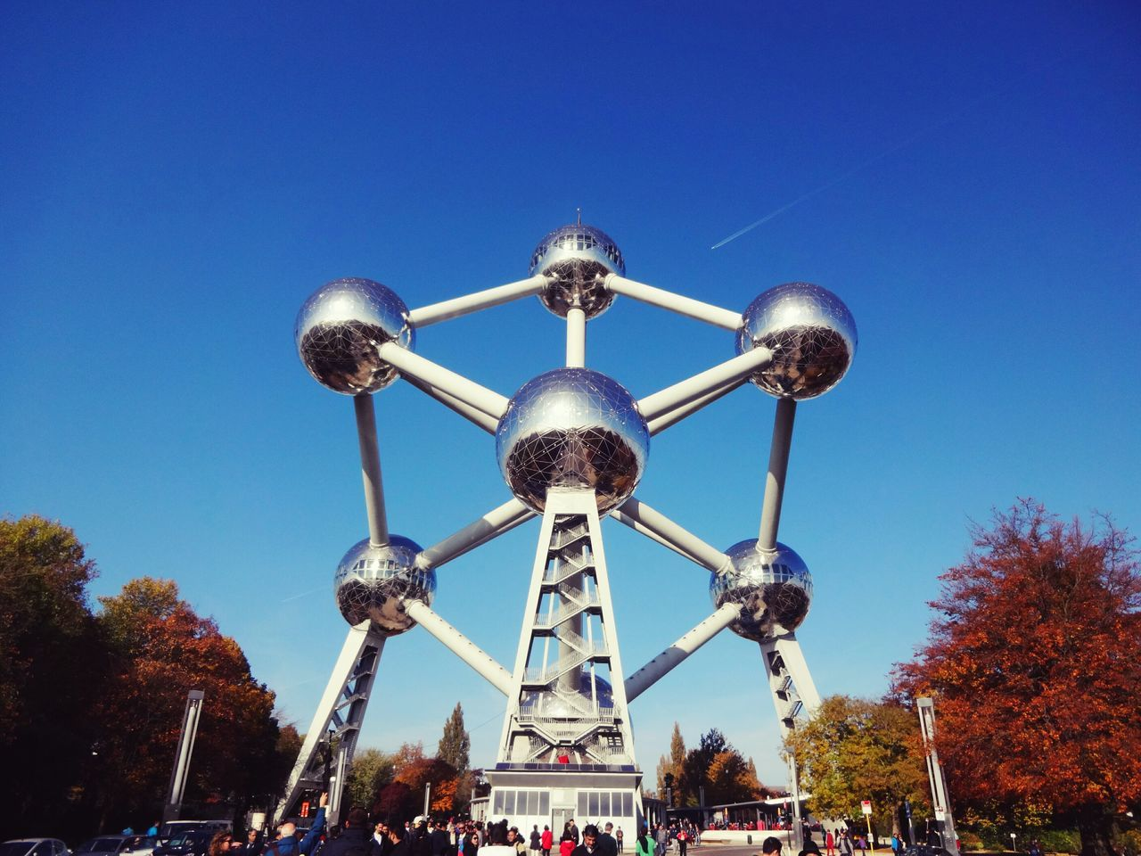Blue City Sky Clear Sky Building Exterior Tree Outdoors No People Architecture Nature Day Belgium. Belgique. Belgie. Belgien. Etc. Brussels❤️ Atomium Architecture Photography Places You Must To See Place Of Interest Famous Tourist Attractions Famous Place
