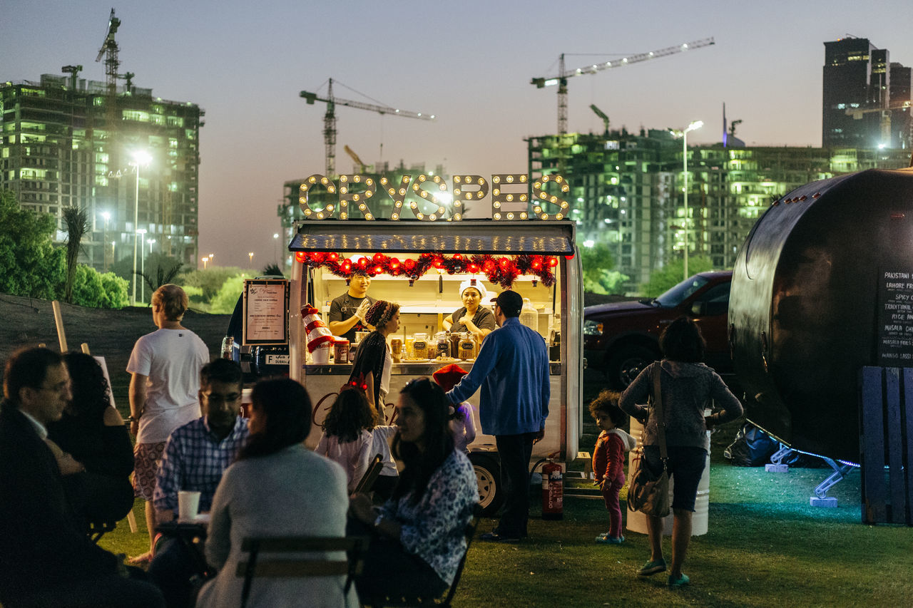 Adult Adults Only City City Gate Crowd Dubai Food Truck Food Trucks Large Group Of People Men Night Outdoors People Sky Women