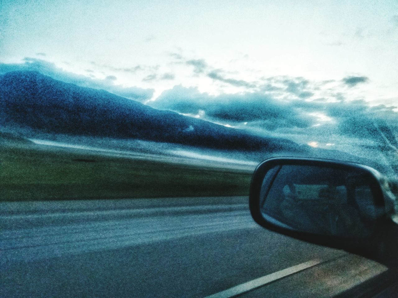 transportation, car, vehicle interior, sky, mode of transport, cloud - sky, road, car interior, side-view mirror, land vehicle, nature, day, window, no people, landscape, scenics, beauty in nature, outdoors, close-up