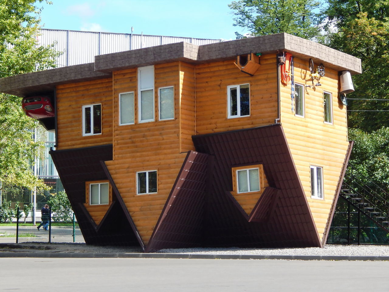 Upside down house Architecture Building Exterior Built Structure Day Entertainment House Moscow No People Outdoors Park Residential Building Russia Sky Tree Upside Down House Window