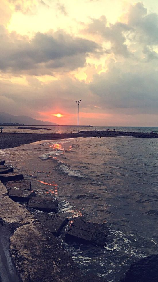 Samsun YakakentSahili Sunset Water Scenics Beach Sea Tranquil Scene Sky Tranquility Cloud - Sky Shore Beauty In Nature Nature Cloud Dramatic Sky Coastline Non-urban Scene Cloudy Outdoors Orange Color Calm