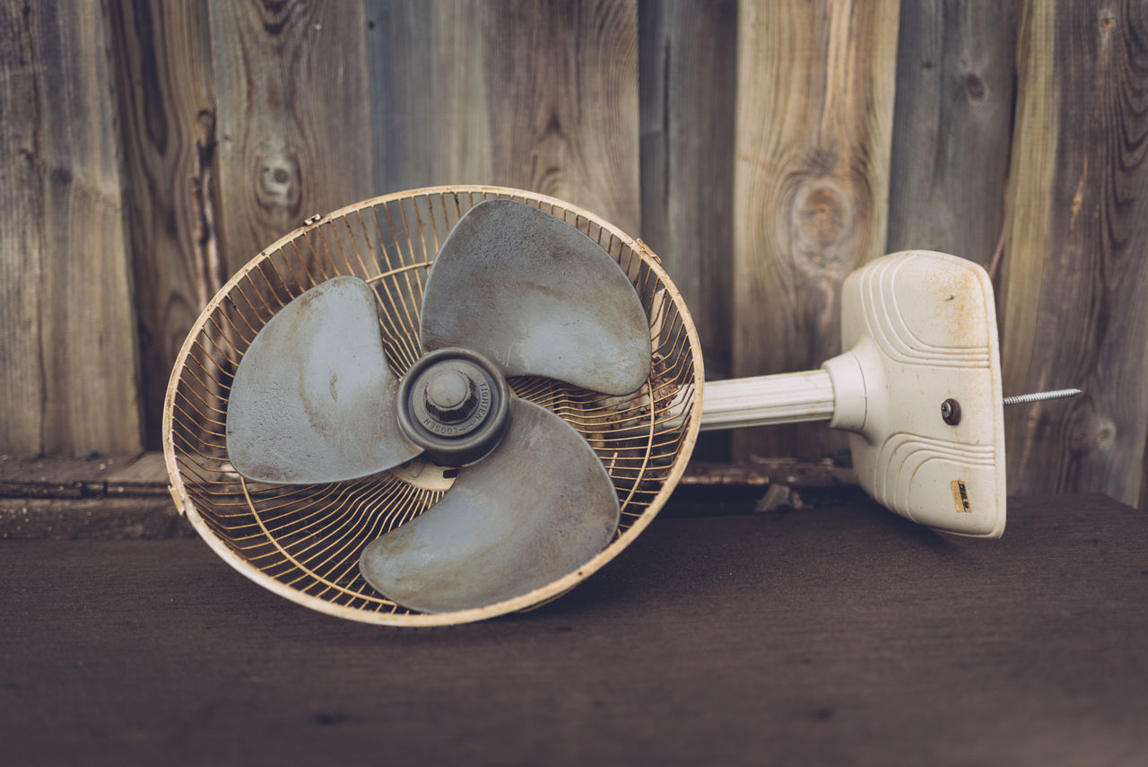Broken Close-up Day Fan No People Old Table Table Fan Tipped Over Trash Wood - Material