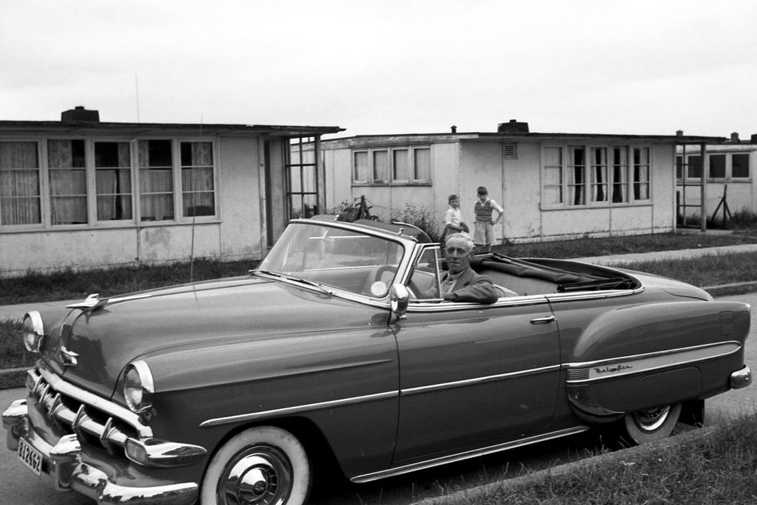 My great grandfather in my grandfathers Chevy Belair 54. Pic taken June 1955. Vintage Cars Cars Chevrolet Belair History Streetphotography In The Car Oldpicture Taking Photos Vintage Camera