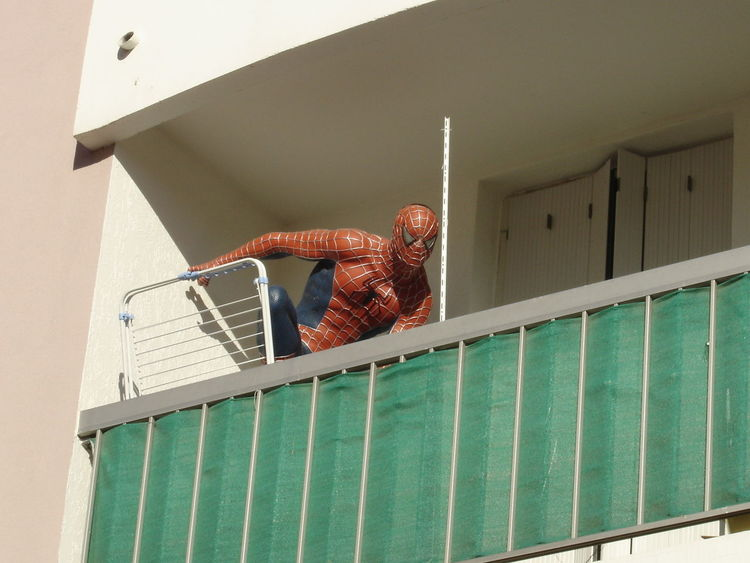 Artist City Controle Fiction Figure HERO Joke Observation Observation Point Power Security Statue Appartment Balcony Becareful Comics Day Justice Marvel Reality Spiderman Street Streetphotography True Wrong