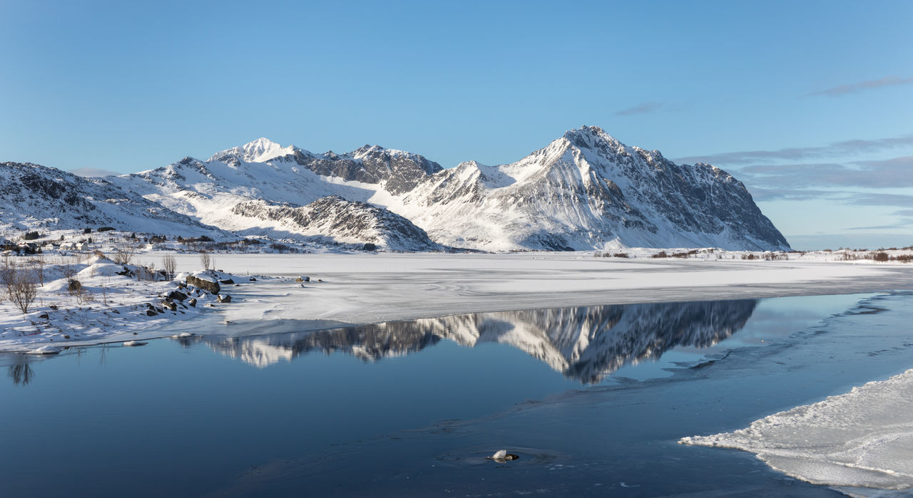 Panoramic view of mountain range in winter with reflection in smooth lake Arctic Beauty In Nature Blue Clear Sky Cold Temperature Day Frozen Ice Lake Lofoten And Vesteral Islands Mountain Mountain Range Nature Outdoors Panoramic Reflection Remote Scenics Sky Smooth Snow Snowcapped Mountain Tranquility Water Winter The Great Outdoors - 2017 EyeEm Awards