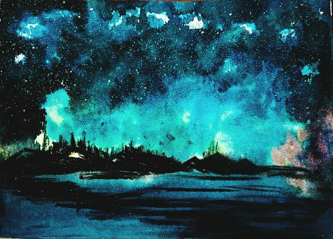 Night Nature Majestic Beauty In Nature Colors Illustration Artworks Watercolorpainting Watercolor Art Painting Creativity Creative Waterblog Watercolours Nature Blue Galaxy Space Beauty In Nature Sky