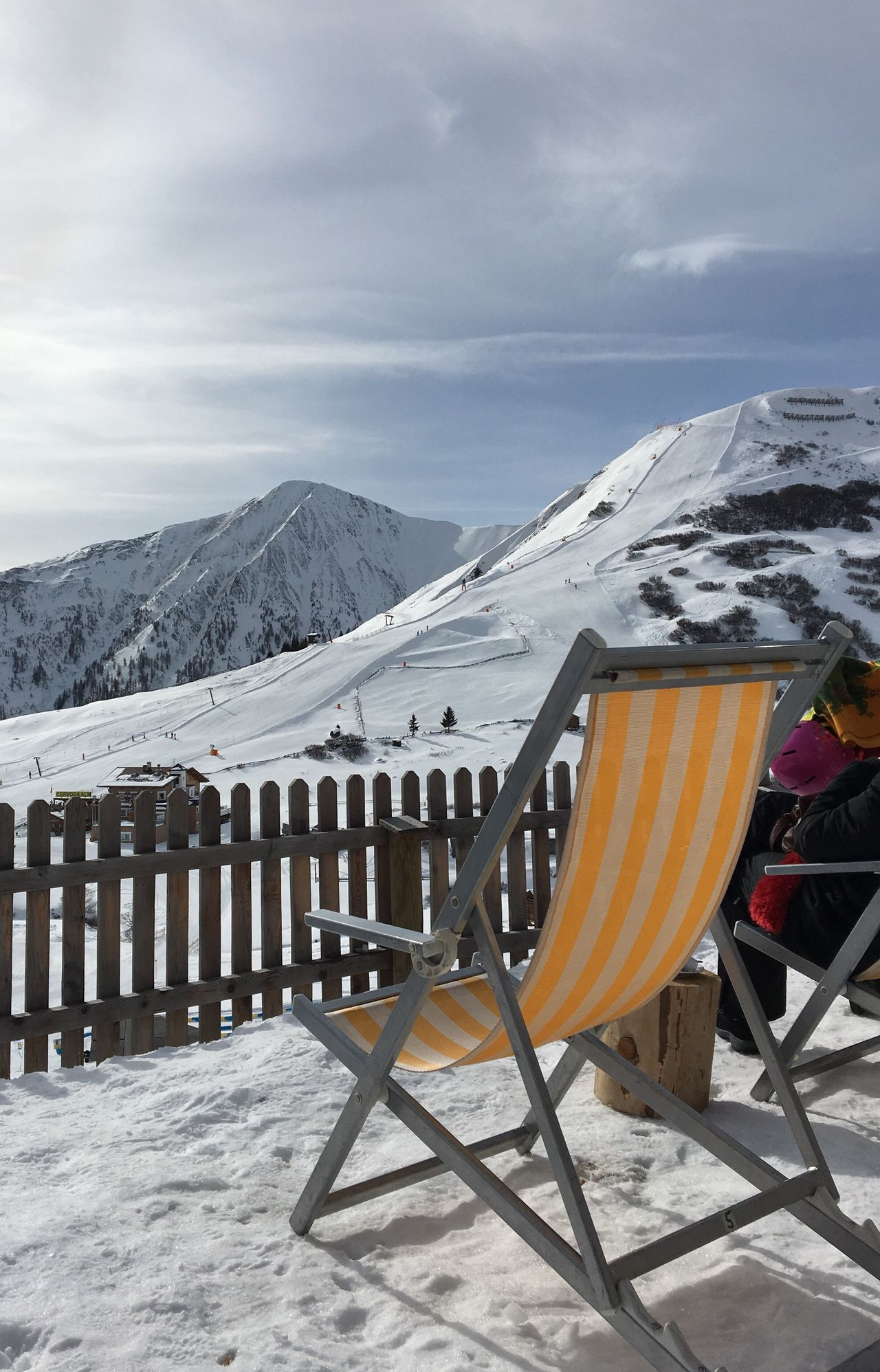 Sun Blue Sky Sitting In The Sun Yellow White Deckchair Snow Mountains
