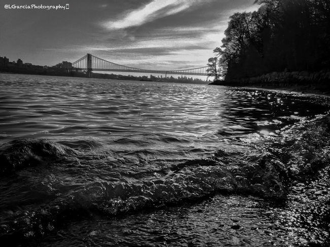 Shore. LGarciaPhotography Monochrome Contrast George Washington Bridge City New Jersey New York NYC Palisades Interstate Park Black And White Collection  Light And Shadow Light Reflection Water IPhone Photography IPhone Bridge Clouds And Sky Black And White Blackandwhite Photography Black & White Blackandwhite Composition Architecture_collection Streetphoto_bw