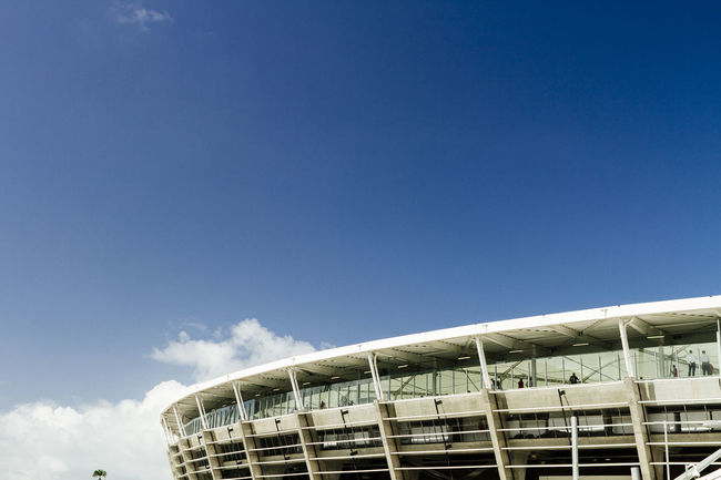 Bahia Blue Brasil Brazil Clear Sky Exterior Fifa Stadium Low Angle View Outdoors Salvador Soccer Stadium Structure Worldcup 2014
