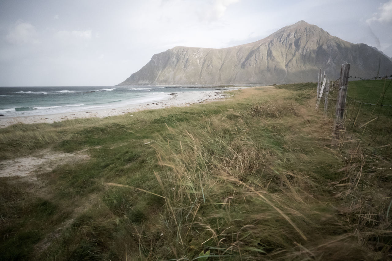 Beach Beauty In Nature Day Fence Flakstad Grass Landscape Lofoten Lofoten Islands Mountain Nature No People Norway Outdoors Scenics Sea Sky Tranquility Water