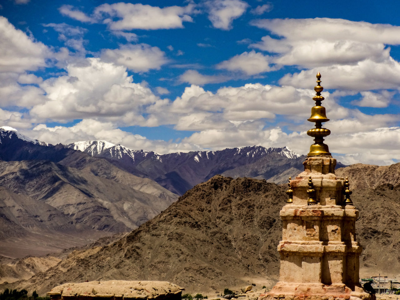 Leh Ladakh India Travel Destinations Religion Travel Mountain Scenics Landscape Spirituality Place Of Worship No People Pilgrimage Architecture Outdoors Cloud - Sky Dome Sky Day Minimalism Travel Cloud Formations Snowcapped Mountain Landscapes Mountains And Sky Travel Photography
